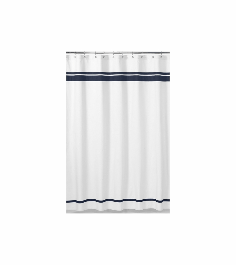 sweet jojo designs hotel white navy shower curtain