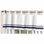 Sweet JoJo Designs Hotel White & Navy Window Valance