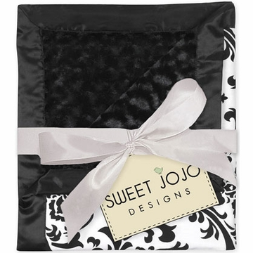 Sweet JoJo Designs Isabella Black & White Minky & Satin Damask Blanket