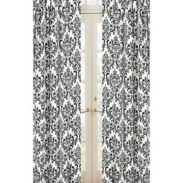 Sweet JoJo Designs Isabella Black & White Window Panels in Damask Print - Set of 2