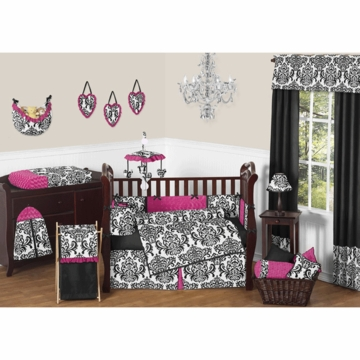 Sweet JoJo Designs Isabella Hot Pink, Black & White 9 Piece Crib Bedding Set