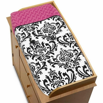 Sweet JoJo Designs Isabella Hot Pink, Black & White Changing Pad Cover