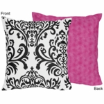 Sweet JoJo Designs Isabella Hot Pink, Black & White Decorative Throw Pillow