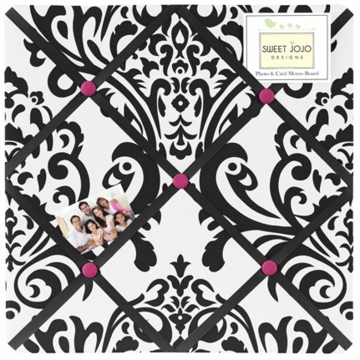 Sweet JoJo Designs Isabella Hot Pink, Black & White Fabric Memo Board