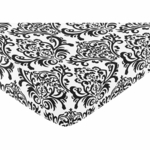 Sweet JoJo Designs Isabella Hot Pink, Black & White Fitted Sheet - Damask Print