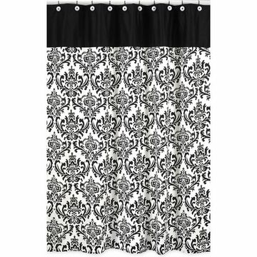 Sweet JoJo Designs Isabella Hot Pink, Black & White Shower Curtain