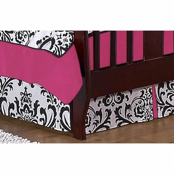 Sweet JoJo Designs Isabella Hot Pink, Black & White Toddler Bed Skirt