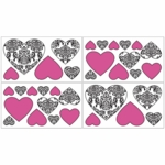 Sweet JoJo Designs Isabella Hot Pink, Black & White Wall Decals
