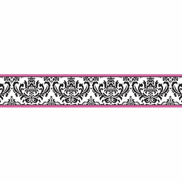 Sweet JoJo Designs Isabella Hot Pink, Black & White Wallpaper Border