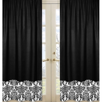 Sweet JoJo Designs Isabella Hot Pink, Black & White Window Panels - Set of 2