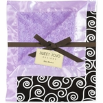 Sweet JoJo Designs Kaylee Purple and Black Minky & Satin Baby Blanket
