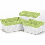 Sweet JoJo Designs Lime Mini Dot Basket Liners - Set of 3