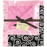 Sweet JoJo Designs Madison Pink & Black Minky and Satin Baby Blanket