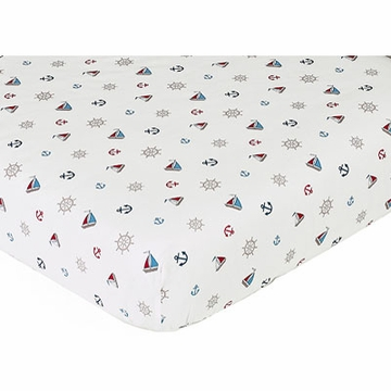 Sweet JoJo Designs Nautical Nights Crib Sheet - Nautical Nights