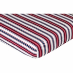 Sweet JoJo Designs Nautical Nights Crib Sheet - Stripe Print