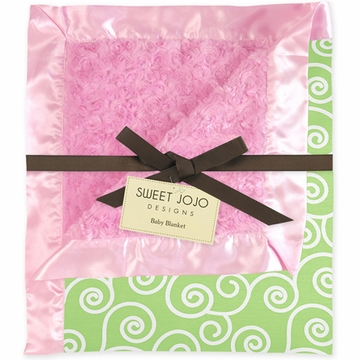 Sweet JoJo Designs Olivia Pink & Green Minky and Satin Baby Blanket