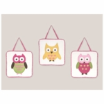 Sweet JoJo Designs Owl Pink Wall Hangings