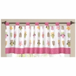 Sweet JoJo Designs Owl Pink Window Valance