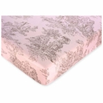 Sweet JoJo Designs Pink & Brown Toile Crib Sheet in Toile Print