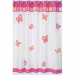Sweet JoJo Designs Pink & Orange Butterfly Shower Curtain