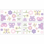 Sweet JoJo Designs Pink & Purple Butterfly Wall Decals