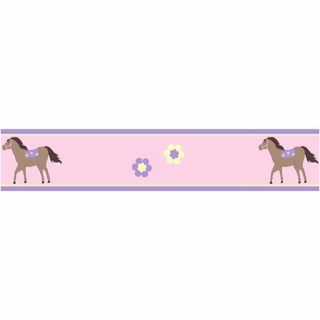 Sweet JoJo Designs Pony Wallpaper Border