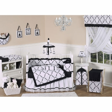 Sweet JoJo Designs Princess Black & White 9 Piece Crib Bedding Set