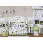Sweet JoJo Designs Princess Black, White & Green 9 Piece Crib Bedding Set