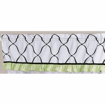 Sweet JoJo Designs Princess Black, White & Green Window Valance