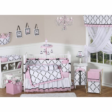 Sweet JoJo Designs Princess Black, White & Pink 9 Piece Crib Bedding Set