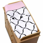 Sweet JoJo Designs Princess Black, White & Pink Changing Pad Cover