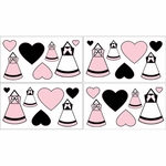 Sweet JoJo Designs Princess Black, White & Pink Wall Decals