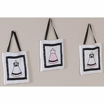Sweet JoJo Designs Princess Black, White & Pink Wall Hangings