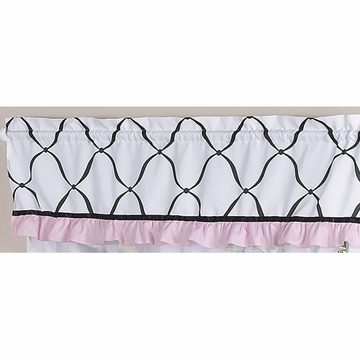 Sweet JoJo Designs Princess Black, White & Pink Window Valance