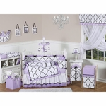 Sweet JoJo Designs Princess Black, White & Purple 9 Piece Crib Bedding Set