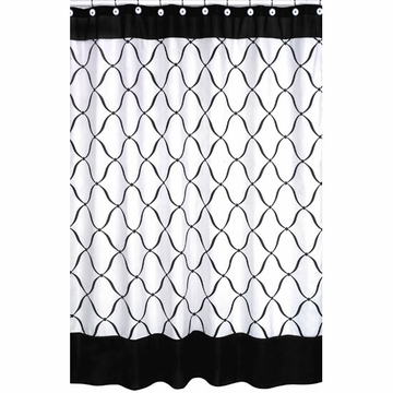 Sweet JoJo Designs Princess Black, White & Purple Shower Curtain