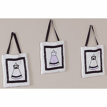 Sweet JoJo Designs Princess Black, White & Purple Wall Hangings