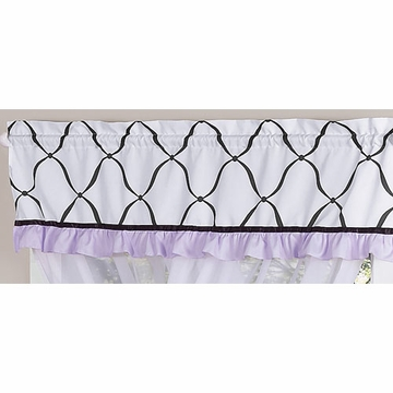 Sweet JoJo Designs Princess Black, White & Purple Window Valance