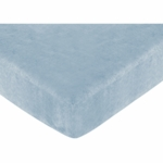 Sweet JoJo Designs Soho Blue & Brown Crib Sheet in Blue Microsuede