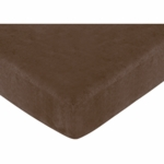Sweet JoJo Designs Soho Blue & Brown Crib Sheet in Chocolate Microsuede