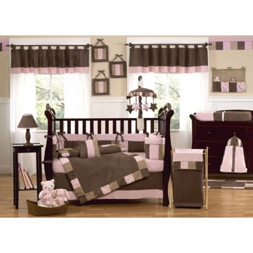 Sweet JoJo Designs Soho Pink & Brown 9 Piece Crib Bedding Set