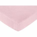 Sweet JoJo Designs Soho Pink & Brown Crib Sheet in Pink Microsuede
