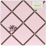 Sweet JoJo Designs Soho Pink & Brown Fabric Memo Board