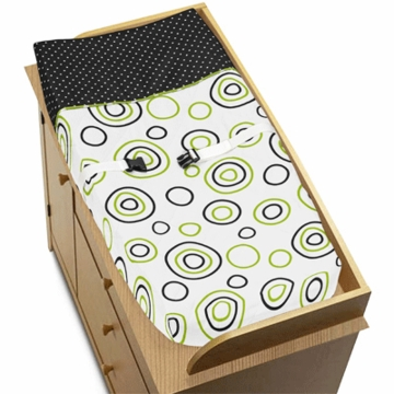 Sweet JoJo Designs Spirodot Lime & Black Changing Pad Cover