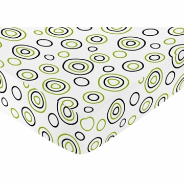 Sweet JoJo Designs Spirodot Lime & Black Crib Sheet - Circles