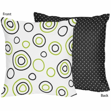 Sweet JoJo Designs Spirodot Lime & Black Throw Pillow