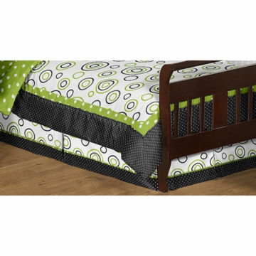 Sweet JoJo Designs Spirodot Lime & Black Toddler Bed Skirt