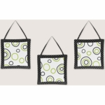 Sweet JoJo Designs Spirodot Lime & Black Wall Hangings