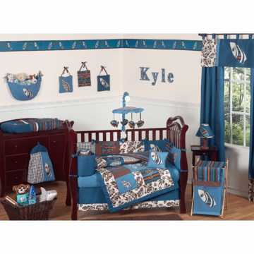 Sweet JoJo Designs Surf Blue & Brown 9 Piece Crib Bedding Set