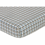 Sweet JoJo Designs Surf Blue & Brown Crib Sheet - Plaid